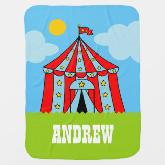 Custom carnaval theme circus tent baby blanket