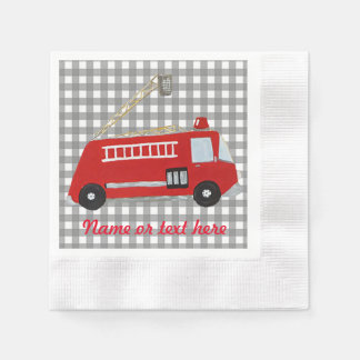 Custom cartoon Fire truck with text Disposable Napkin