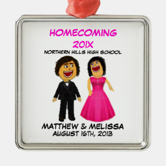 Custom Cartoon High School Dance Couple Metal Ornament