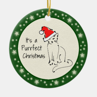 Custom Cartoon Kitten in Santa Hat - Photo on Back Ceramic Ornament