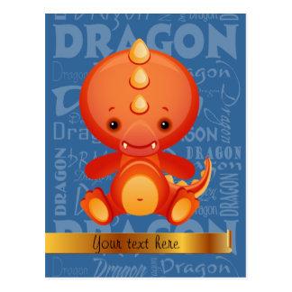 Custom Cartoon Year of the Dragon Word Art Postcard