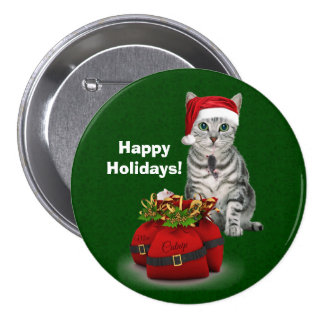 Custom Cat and Mouse Christmas on Green 3 Inch Round Button