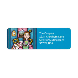 Custom Cat & Lady Art Return Address Labels