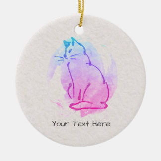 Custom Cat Watercolor Sketch - Your Text on this Ceramic Ornament