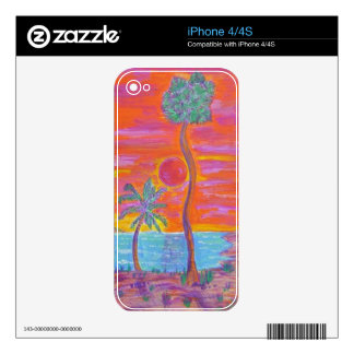 Custom Cell Phone Skins - Tropical Breeze Decals For iPhone 4S