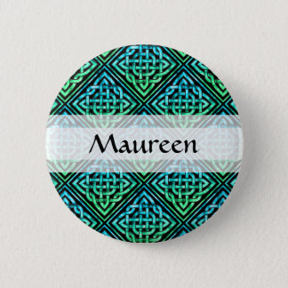 Custom Celtic Knot - Diamond Tile Blue Green 2 Inch Round Button