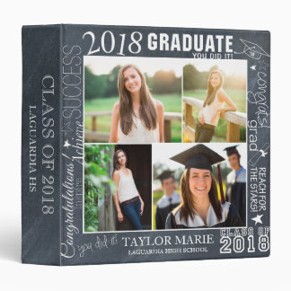 Custom Chalk Graduation 2018 Photo Scrapbook 3 Ring Binders