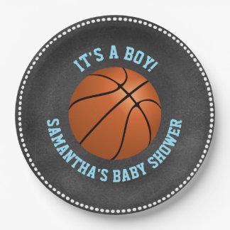 Custom Chalkboard Basketball Baby Shower Paper 9 Inch Paper Plate