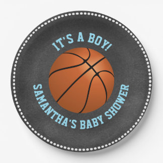 Custom Chalkboard Basketball Baby Shower Paper Paper Plate