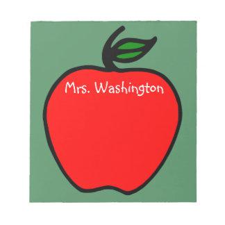 Custom Chalkboard Teacher's Apple Notepad Gift