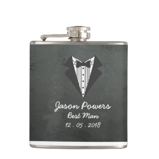 Custom Chalkboard Tux Best Man Groomsman Hip Flask