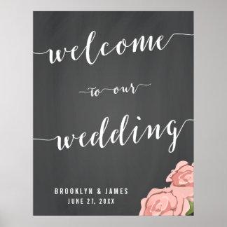 Custom Chalkboard Wedding Reception Sign 22x28 Poster