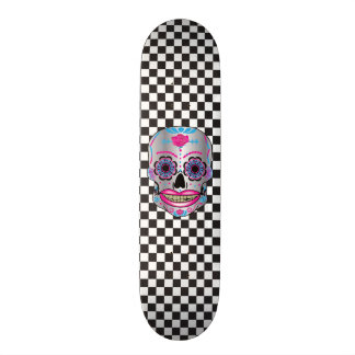 Custom Checker Board Rose Candy Skull Deck Skate Board Deck