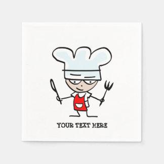 Custom chef cook cartoon paper party napkins disposable napkins