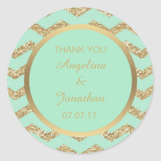 Custom Chevron Mint Green Glitter Gold Wedding Round Sticker