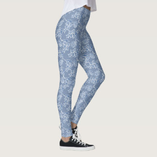Custom Chic Indigo Blue Ethnic Floral Pattern Leggings