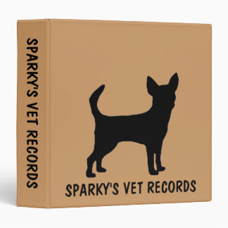 Custom Chihuahua Dog Vet Records Binder