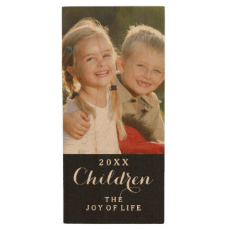 Custom Children Photo Monogram USB Flash Drive Wood USB 2.0 Flash Drive