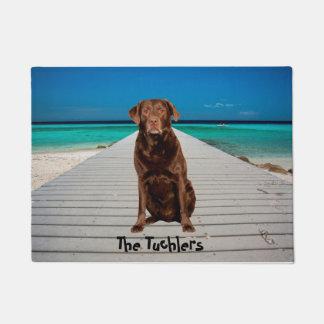 Custom Chocolate Labrador on Beach Doormat