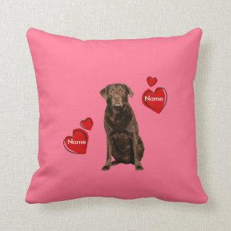 Custom Chocolate Labrador Valentine's Day Pillow