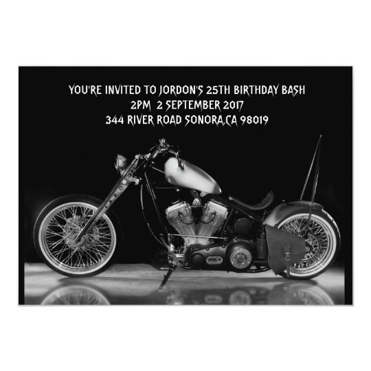 Custom chopper motorcycle card