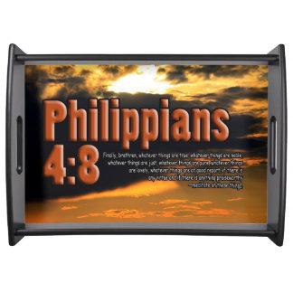 CUSTOM CHRISTIAN BIBLE VERSE PHILIPPIANS 4:8 SERVING TRAY