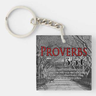 CUSTOM CHRISTIAN BIBLE VERSE PROVERBS 3:5-6 Single-Sided SQUARE ACRYLIC KEYCHAIN