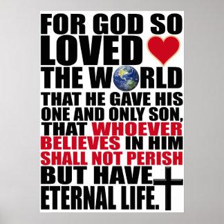 Custom Christian John 3:16 Bible Verse Poster