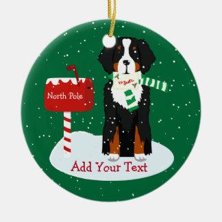 Custom Christmas Bernese Mt Dog Letter To Santa Ceramic Ornament