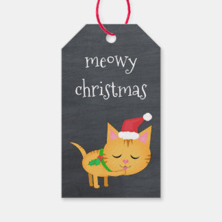 Custom Christmas Cat on Chalkboard Gift Tags Pack Of Gift Tags