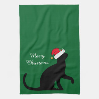 Custom Christmas Cat Santa Green Kitchen Towel