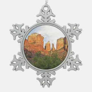 Custom Christmas Cathedral Rock Sedona Snowflake Pewter Christmas Ornament