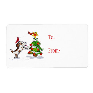 Custom Christmas Dog & Cardinals Gift Labels