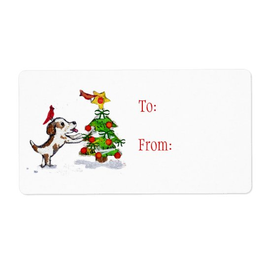 Custom Christmas Dog & Cardinals Gift Labels