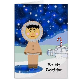 Custom Christmas for Daughter, Cute Eskimo Scene Card