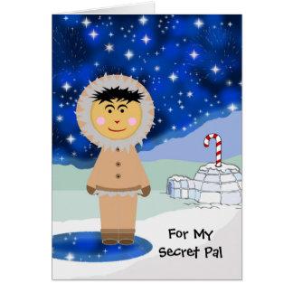 Custom Christmas for Secret Pal, Cute Eskimo Card