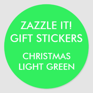 Custom CHRISTMAS GREEN ROUND Large Gift Stickers