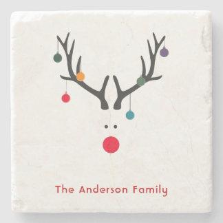 Custom Christmas minimalist modern reindeer family Stone Coaster