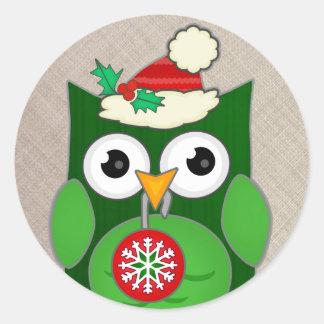 Custom Christmas Owl Classic Round Sticker