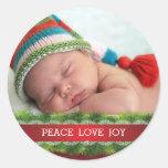 Custom Christmas Peace Love Joy Photo Sticker Stickers