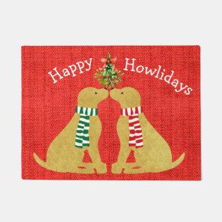 Custom Christmas Retrievers Mistletoe Red Burlap Doormat