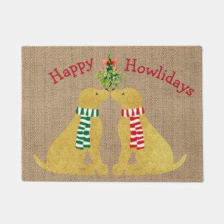 Custom Christmas Retrievers Mistletoe Tan Burlap Doormat