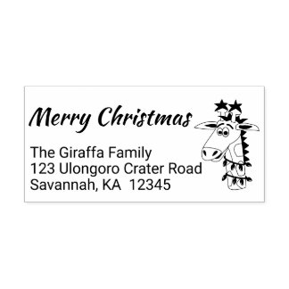 Custom Christmas Return Address Stamp Cute Giraffe