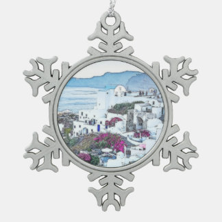 Custom Christmas Santorini Greece Snowflake Pewter Christmas Ornament