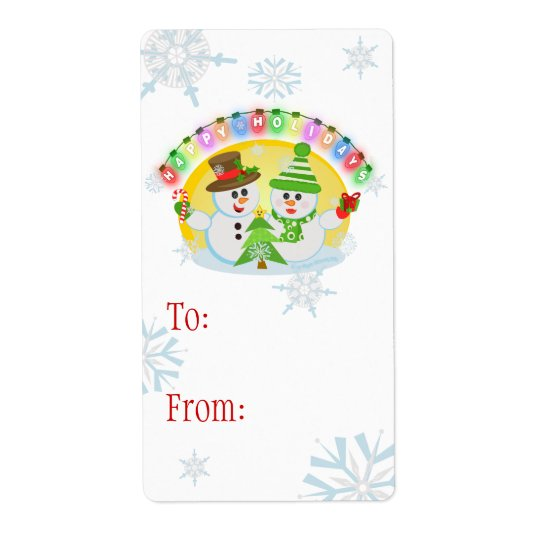 Custom Christmas Snowman Gift Labels