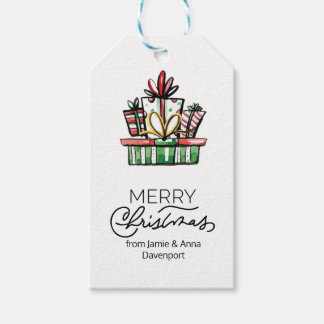 Custom Christmas Tag with Watercolor Gifts