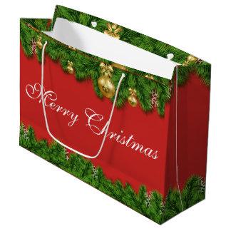Custom Christmas with pinetree & ornament Gift Bag