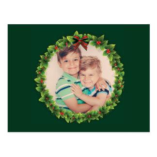 Custom Christmas Wreath Add Your Own Photo Family Postcard