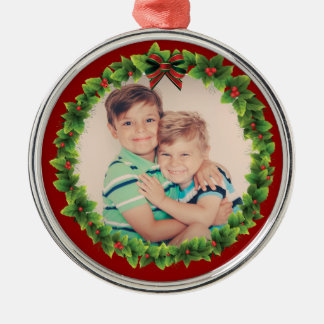 Custom Christmas Wreath Add Your Own Photo Red Metal Ornament