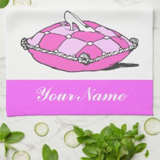 Custom Cinderella Glass Slipper Pink Towel